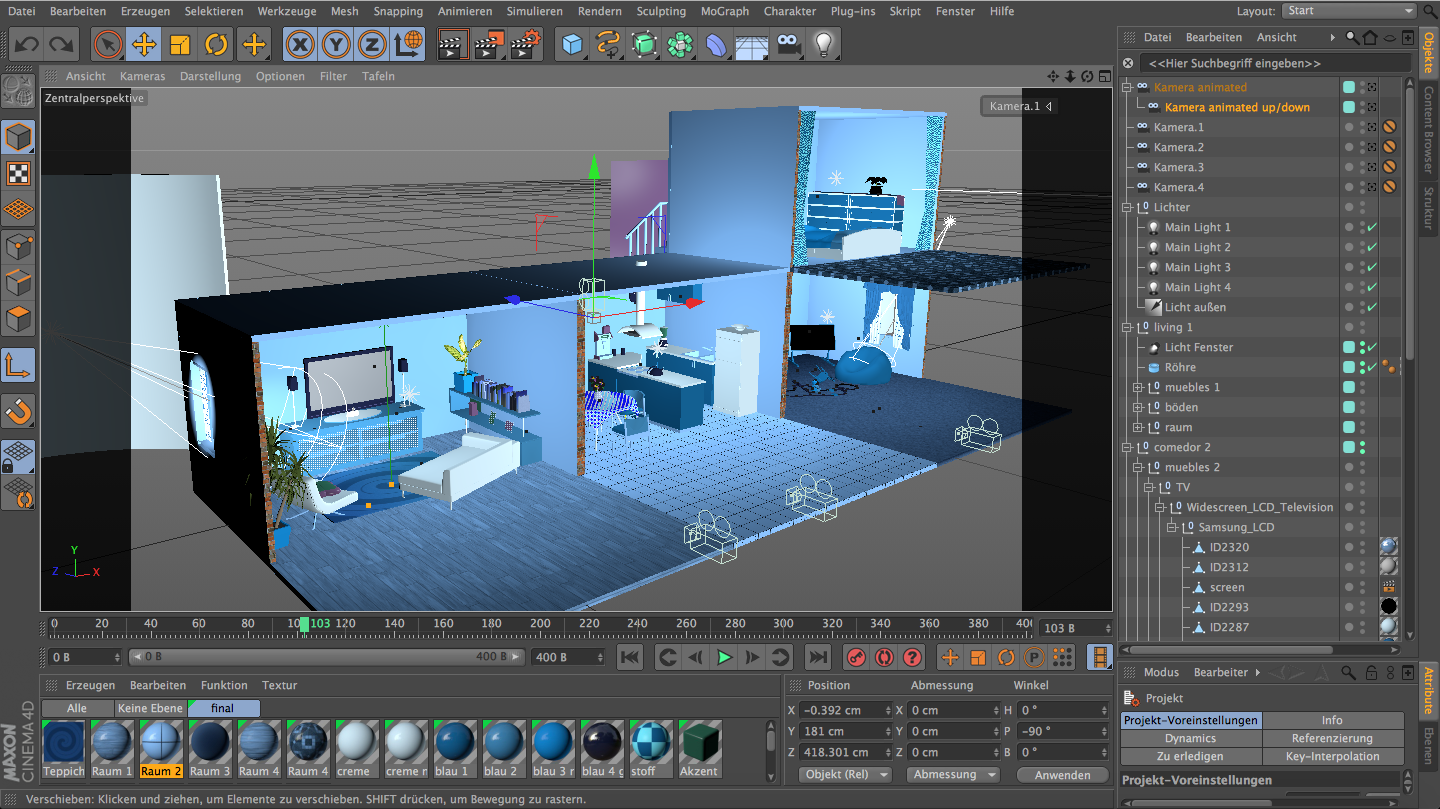 Das Filmset in Cinema4D